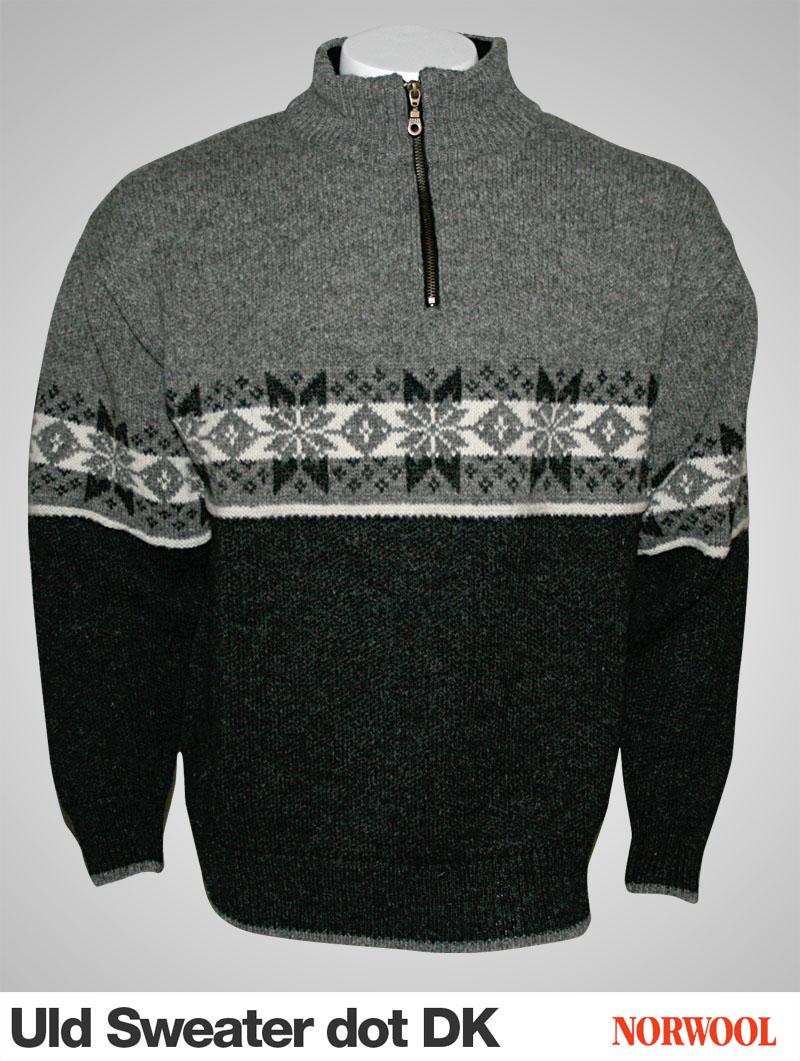 Uld Sweater i nordisk m?nster i 100% ren ny uld fra Norge